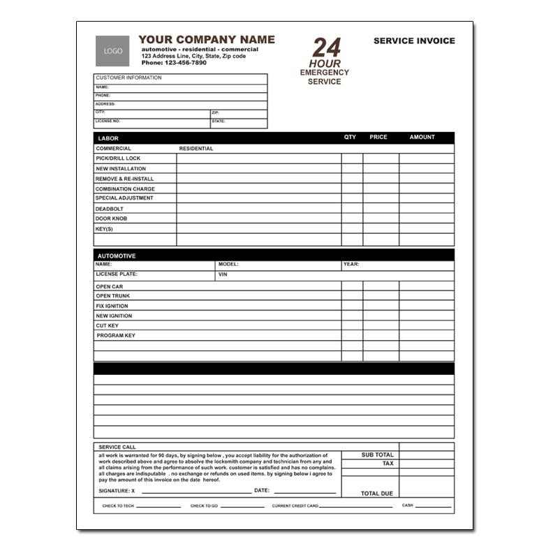 Locksmith Invoice Form Work Order | DesignsnPrint