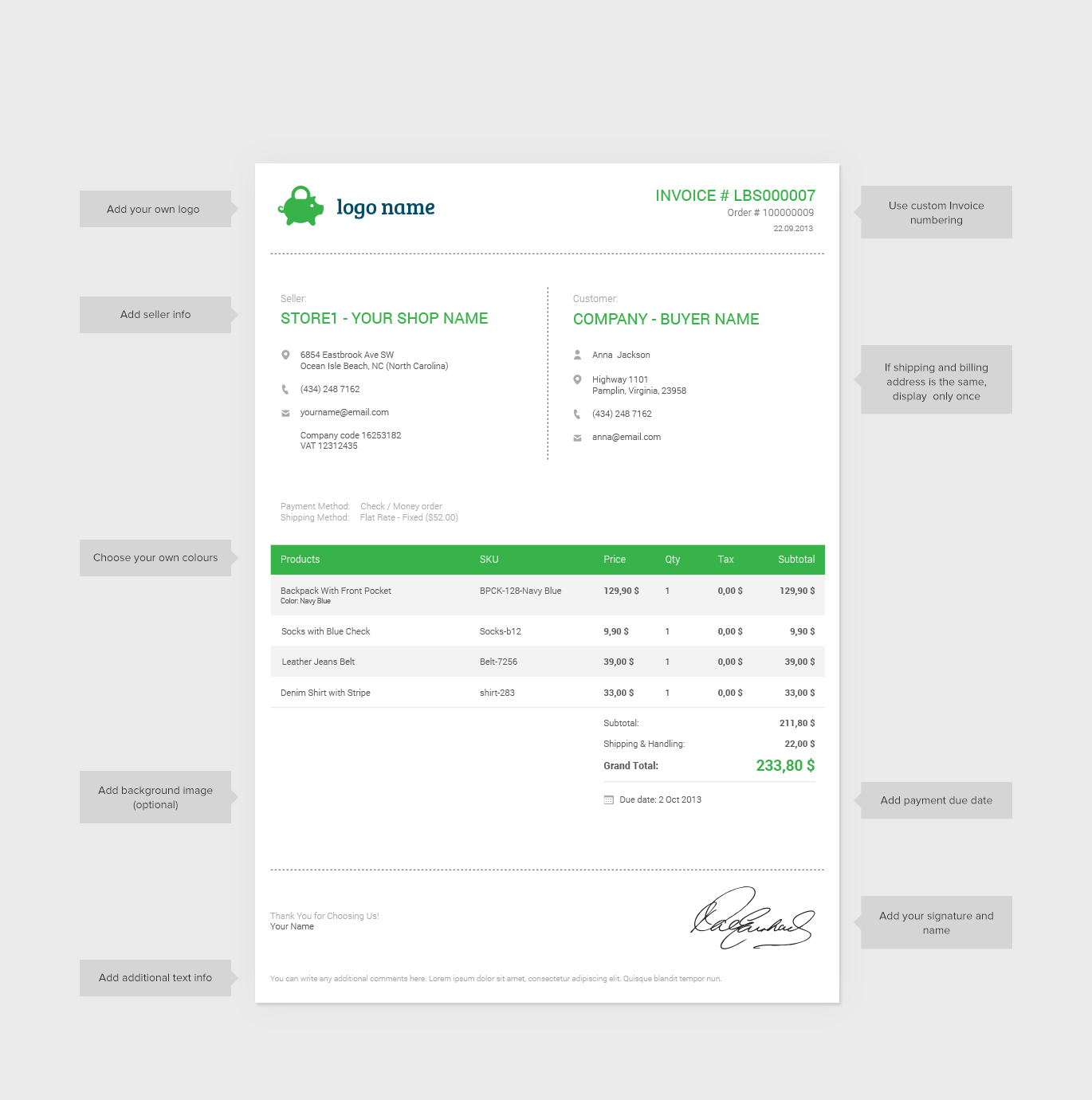 download zen cart invoice template | rabitah, Invoice templates