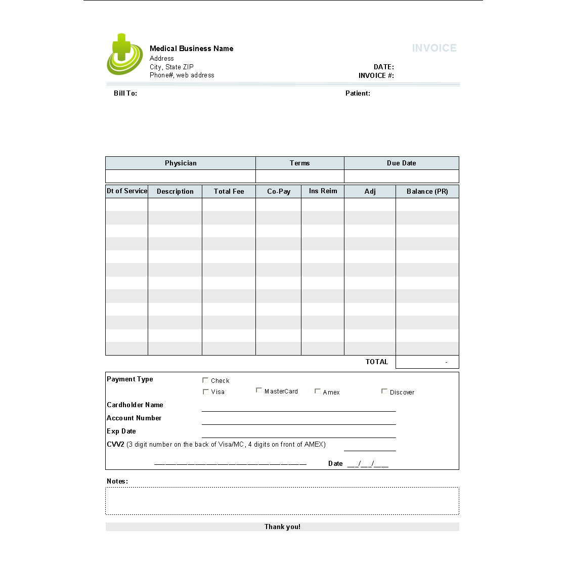 Medical Invoice Template Free To Do List Bill Format Word