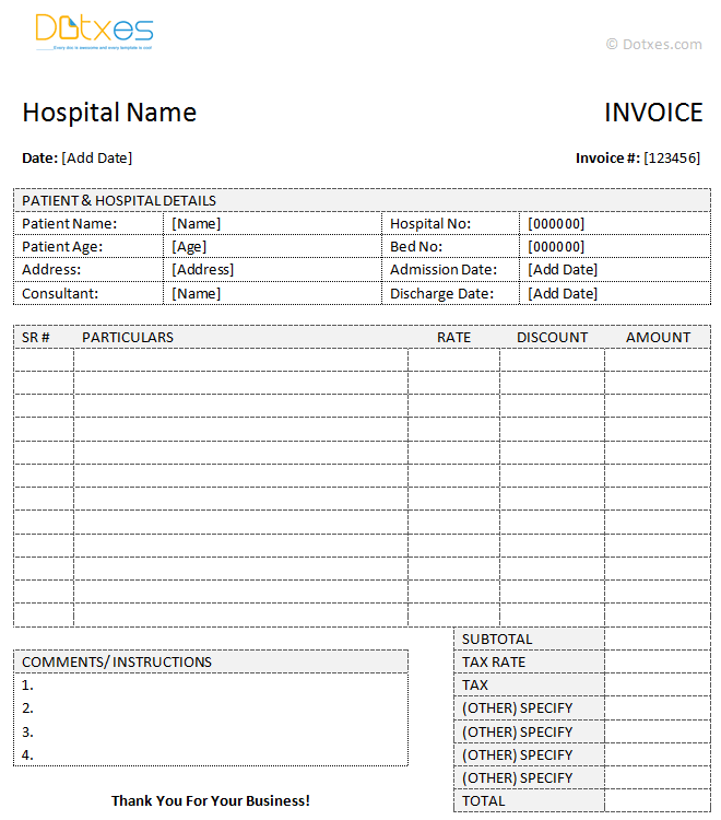 Medical Invoice Template (Word) Dotxes