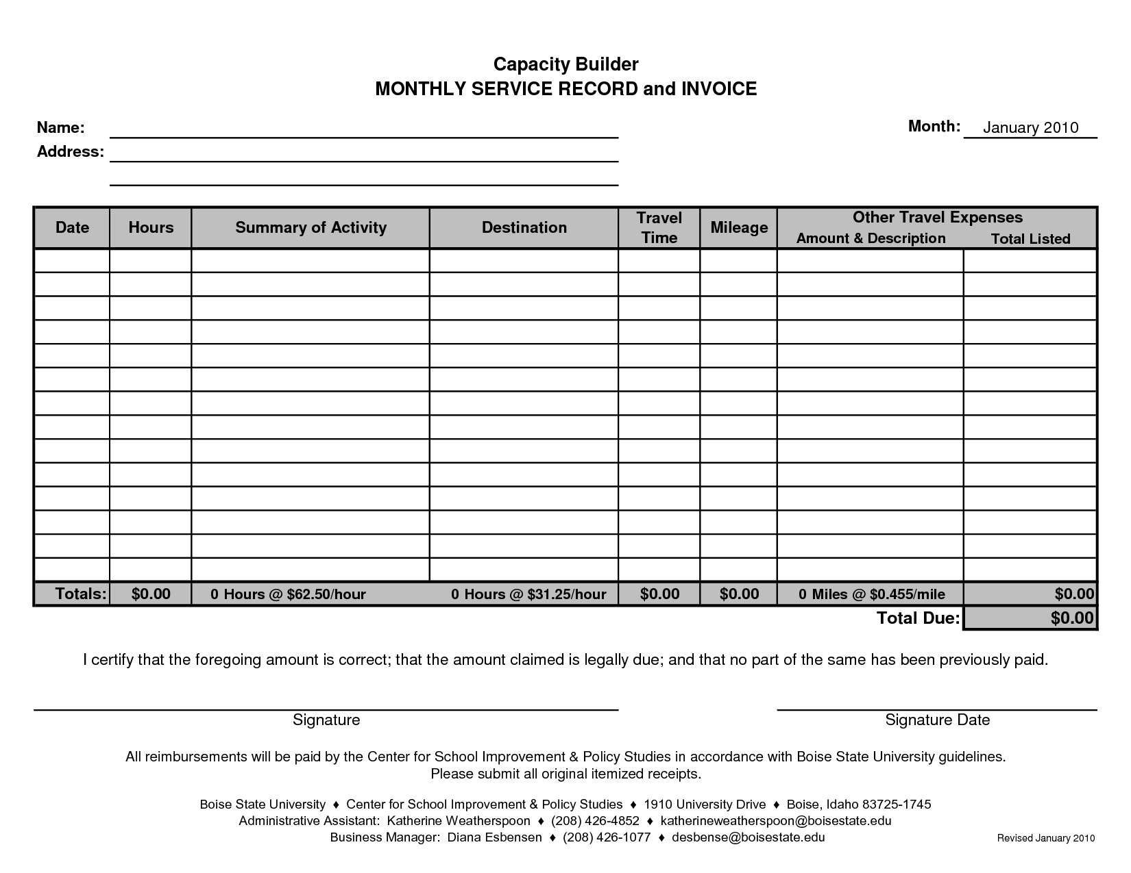 monthly invoice template