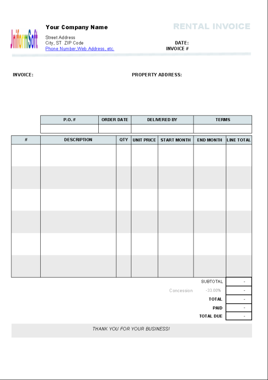 Monthly Invoice Template Invoice Template 2017