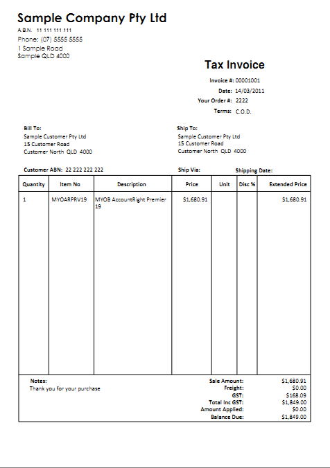 Remittance Advice Template. Myob Invoice Templates Printable