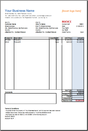 Basic Invoice Template Free Open Office Dhanhatban.info