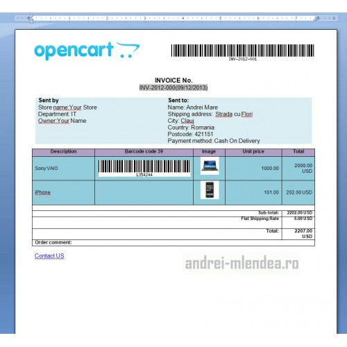 opencart invoice template invoice example