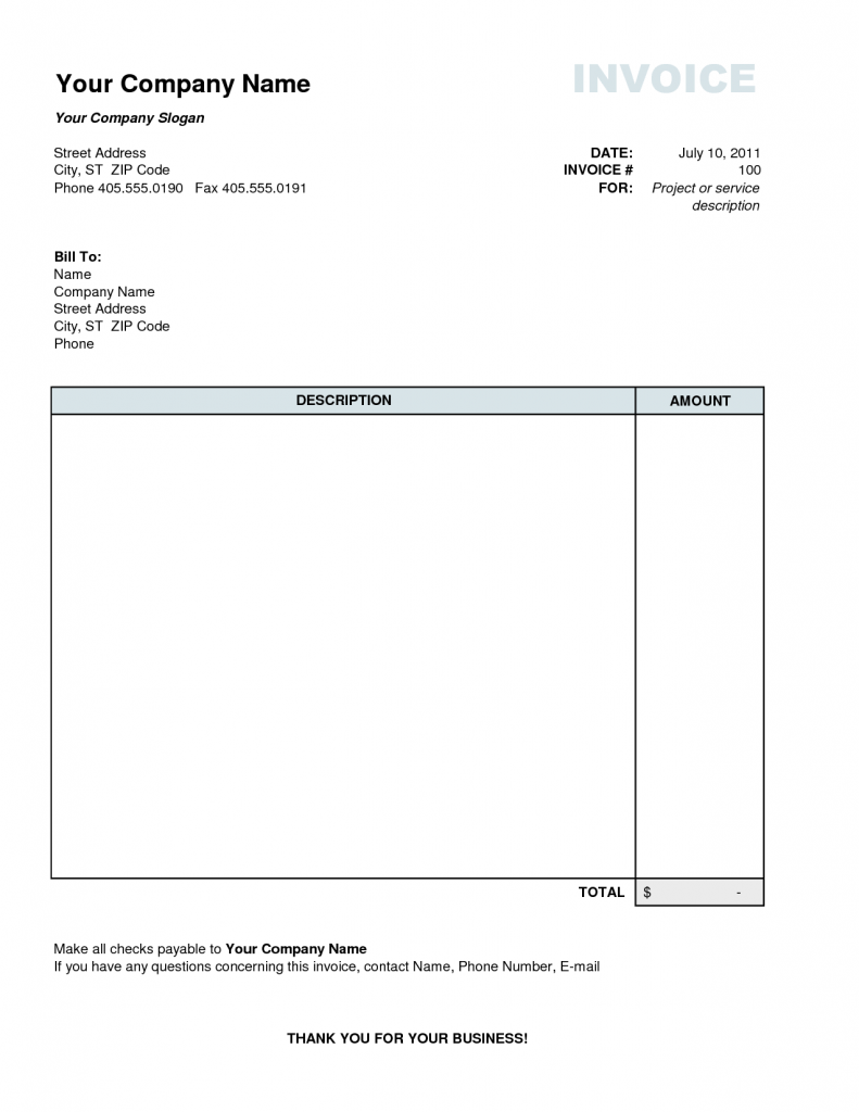 Personal invoice template invoice example for Free invoice template