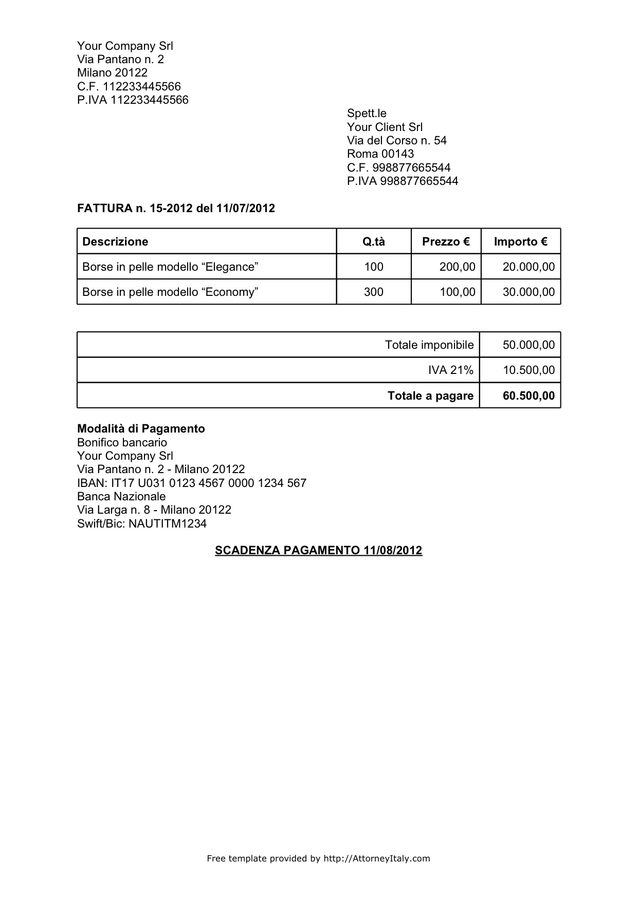 Italian Invoice Template Personal Uk Img For Standard / Hsbcu