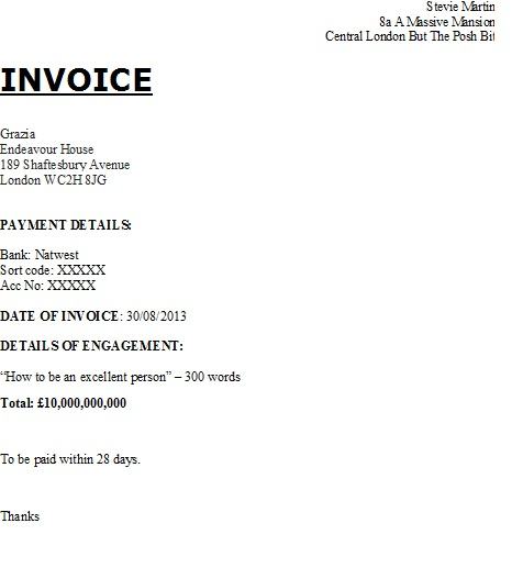 Personal Invoice Template Uk | Invoice Example