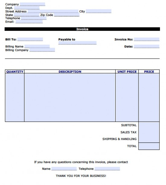 ... Word 2003 Invoice Template By Word Invoice Template Pdf Rabitah Net ...