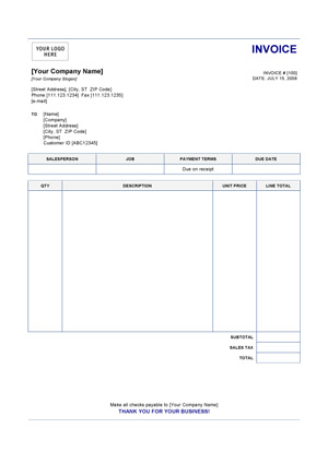 simple personal invoice template – notators, Invoice examples
