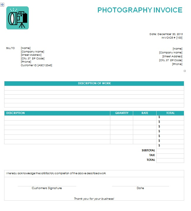 Photography Invoice Template Printable Word, Excel Invoice