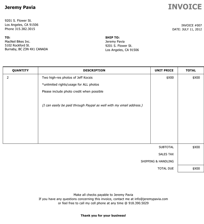 Personal Invoice Template - Text