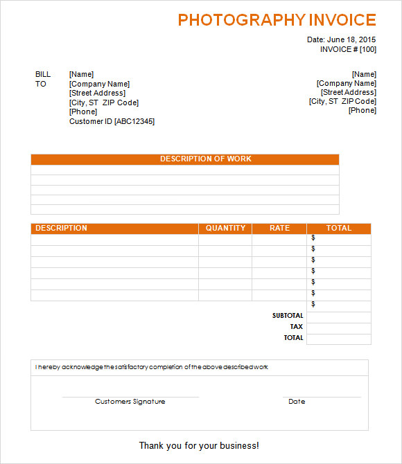 Photography Invoice Sample 7+ Documents in PDF, Word