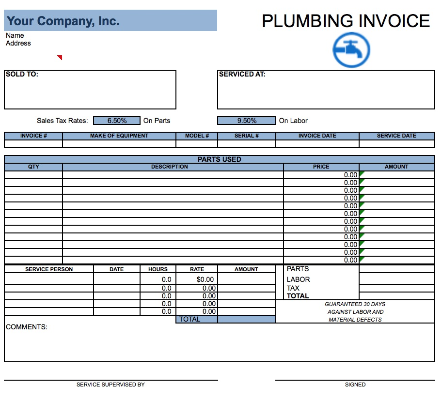 plumbing invoice template word | invoice example, Invoice templates