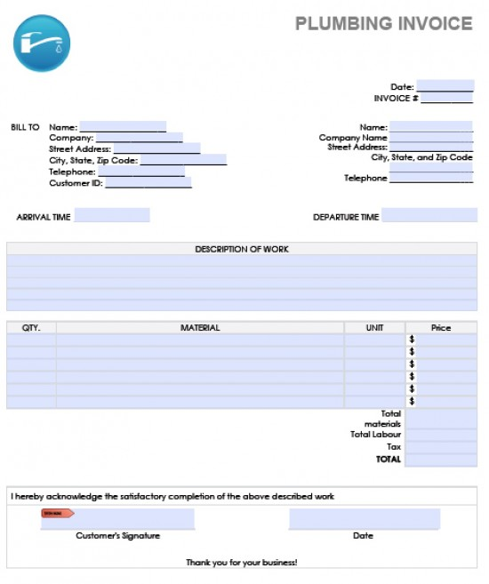 plumbers invoice template uk plumbing invoice template word