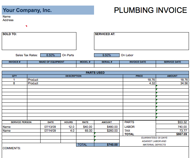 Plumbing Invoice Template | Free Invoice Templates