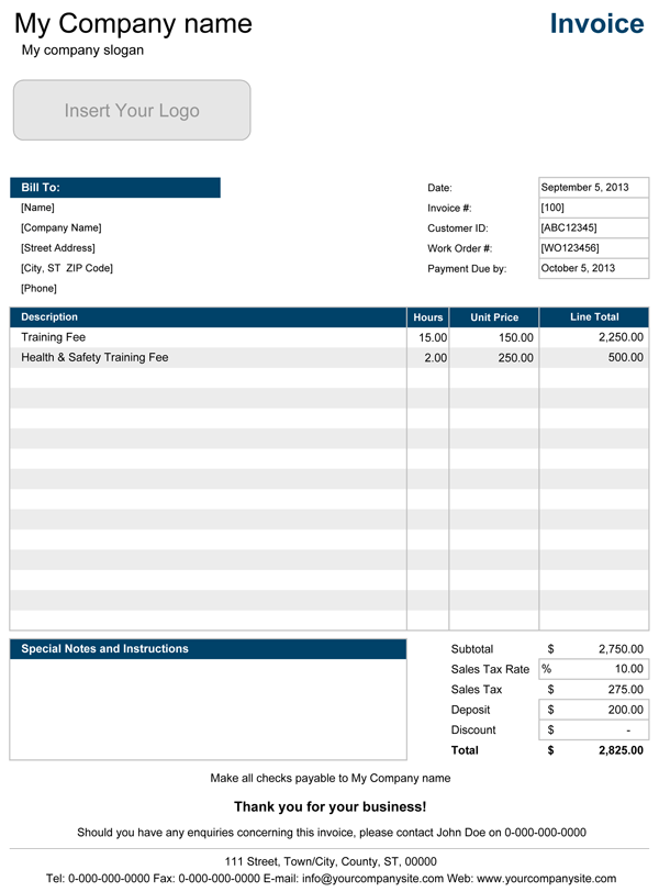 Free Printable Blank Invoice Templates Template Excel Service Pr
