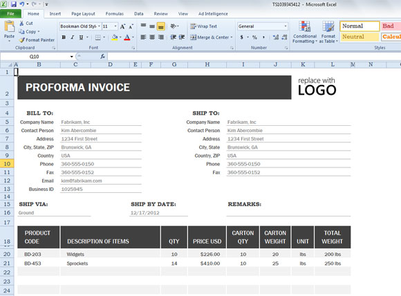 Proforma Invoice Template Excel Download Dhanhatban.info
