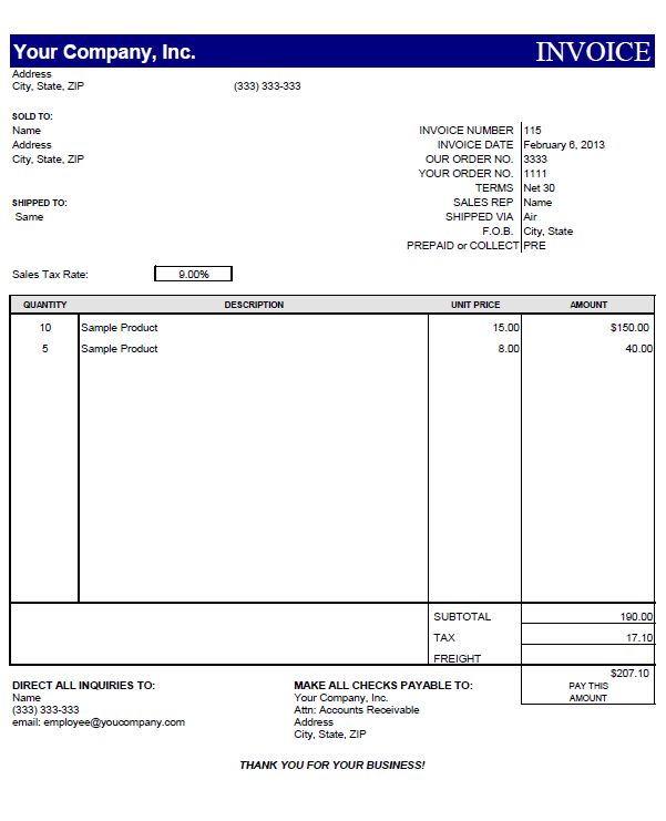 proforma invoice template free download