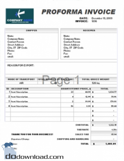 Commercial Invoice Proforma Invoice Fill Online, Printable