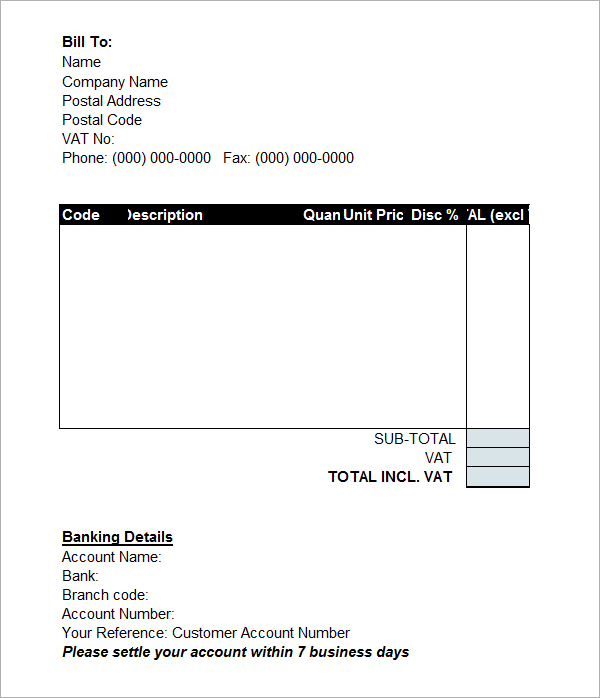 performance invoice template
