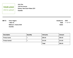 Quick Invoice Template  Freeinvoice Template