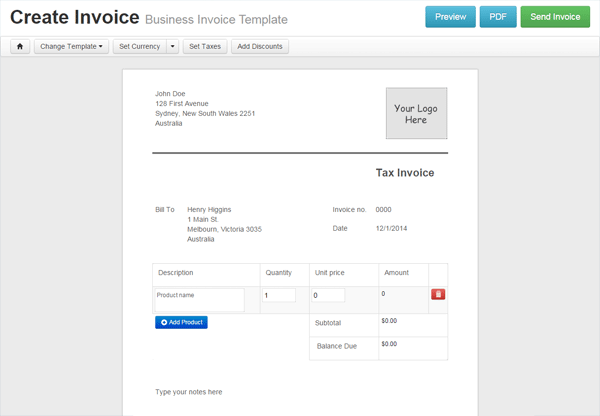Quick invoice template invoice example for Invoice template maker