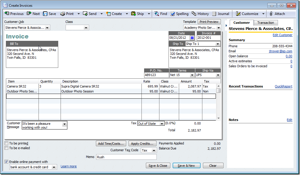 Quickbooks invoice template invoice example for Quickbooks sales order template