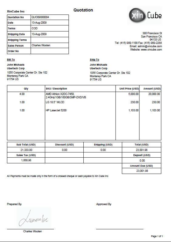 Quote Invoice Template ⋆ Invoice Template