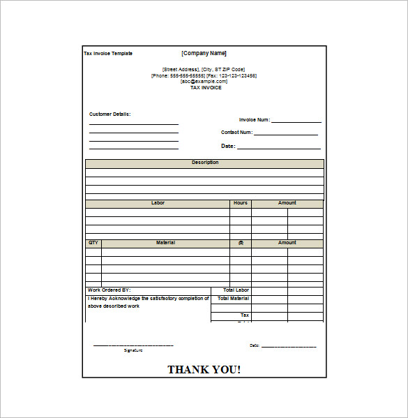 receipt invoice template