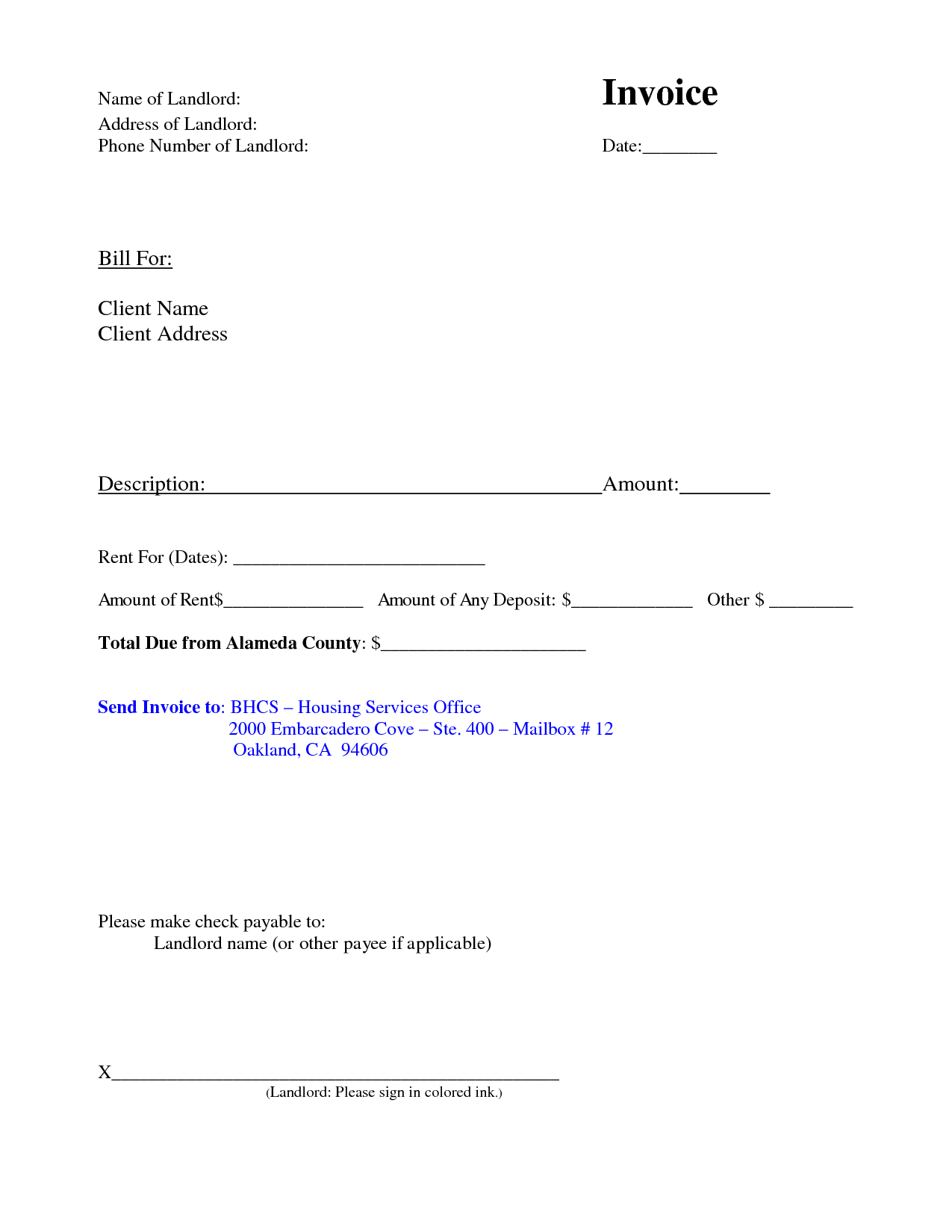rent invoices template