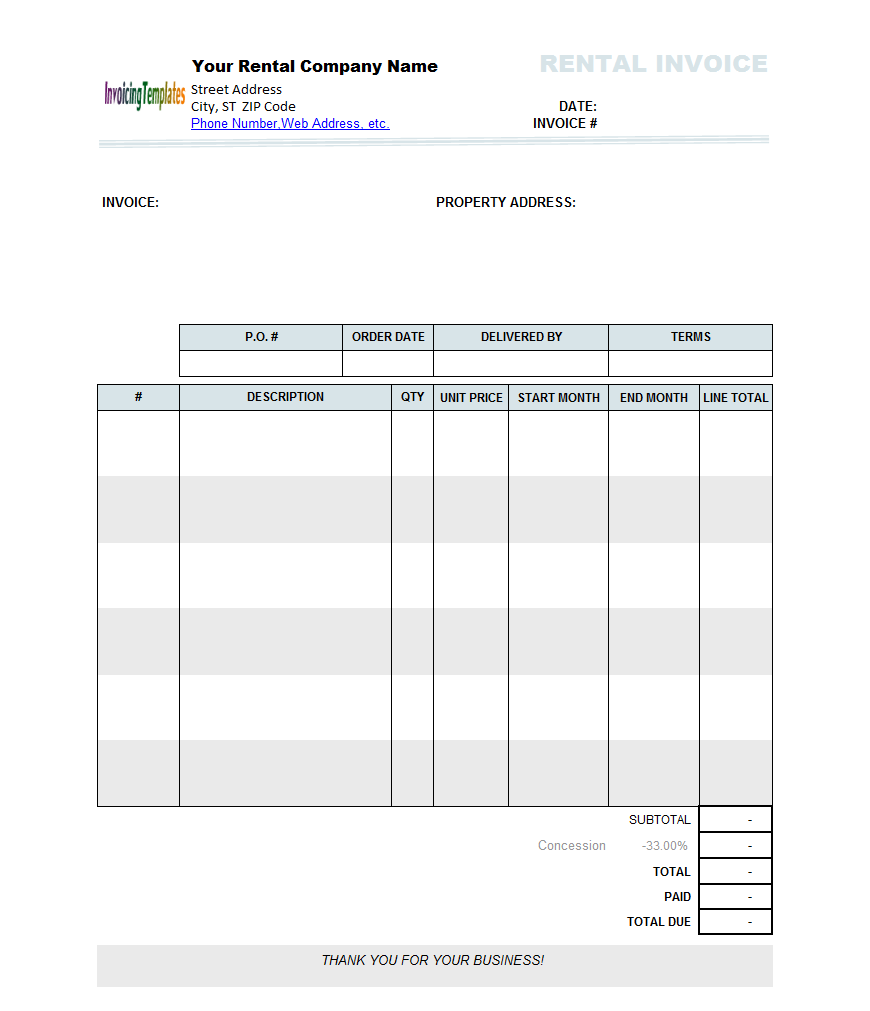 Rent Invoice Template | invoice example