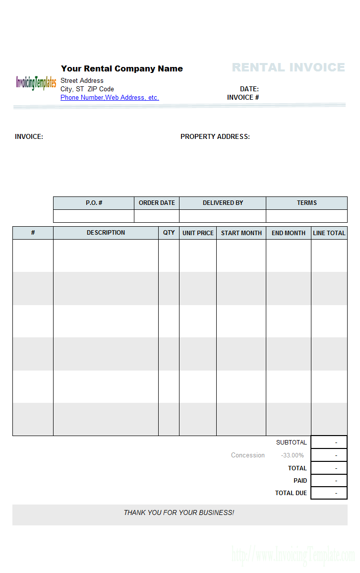 House Rental Invoice Template in Excel Format Free Templates