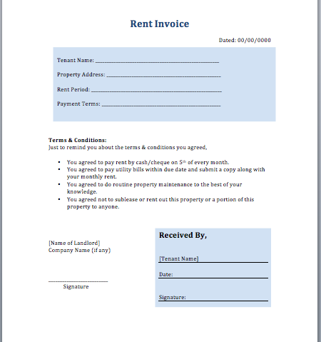 Rental Invoice Template Word – Free Rent Receipt Template Word
