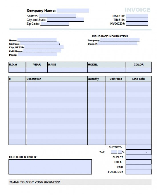 Repair invoice template invoice example for Florida auto repair invoice