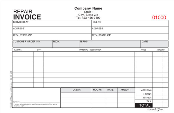 Repair Invoice Template  Invoice Example
