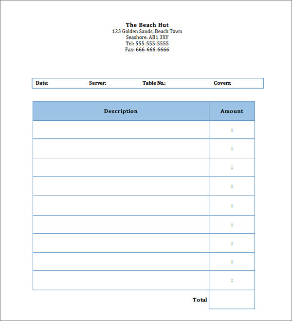 Restaurant Invoice Template Letter Template Business