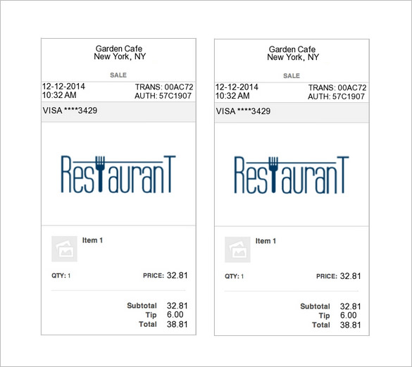 Restaurant Receipt Template – 5+ Free Word, Excel, PDF Format