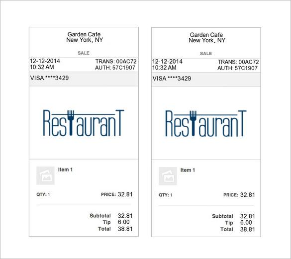 Restaurant Dining Invoice Template (VAT)