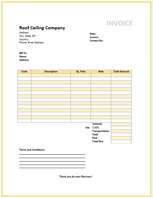 Roof Ceiling Invoice Template | Free Invoice Templates