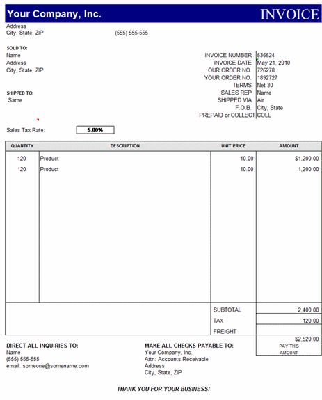 Sales Invoice Template Excel Free Download Invoice Example