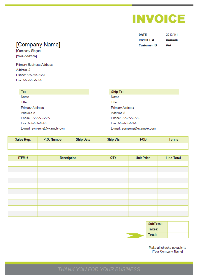 Sales Invoice Examples and Templates Free Download