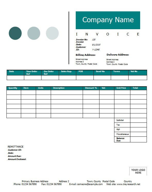 Commercial Sales Invoice  Template amp Sample Form