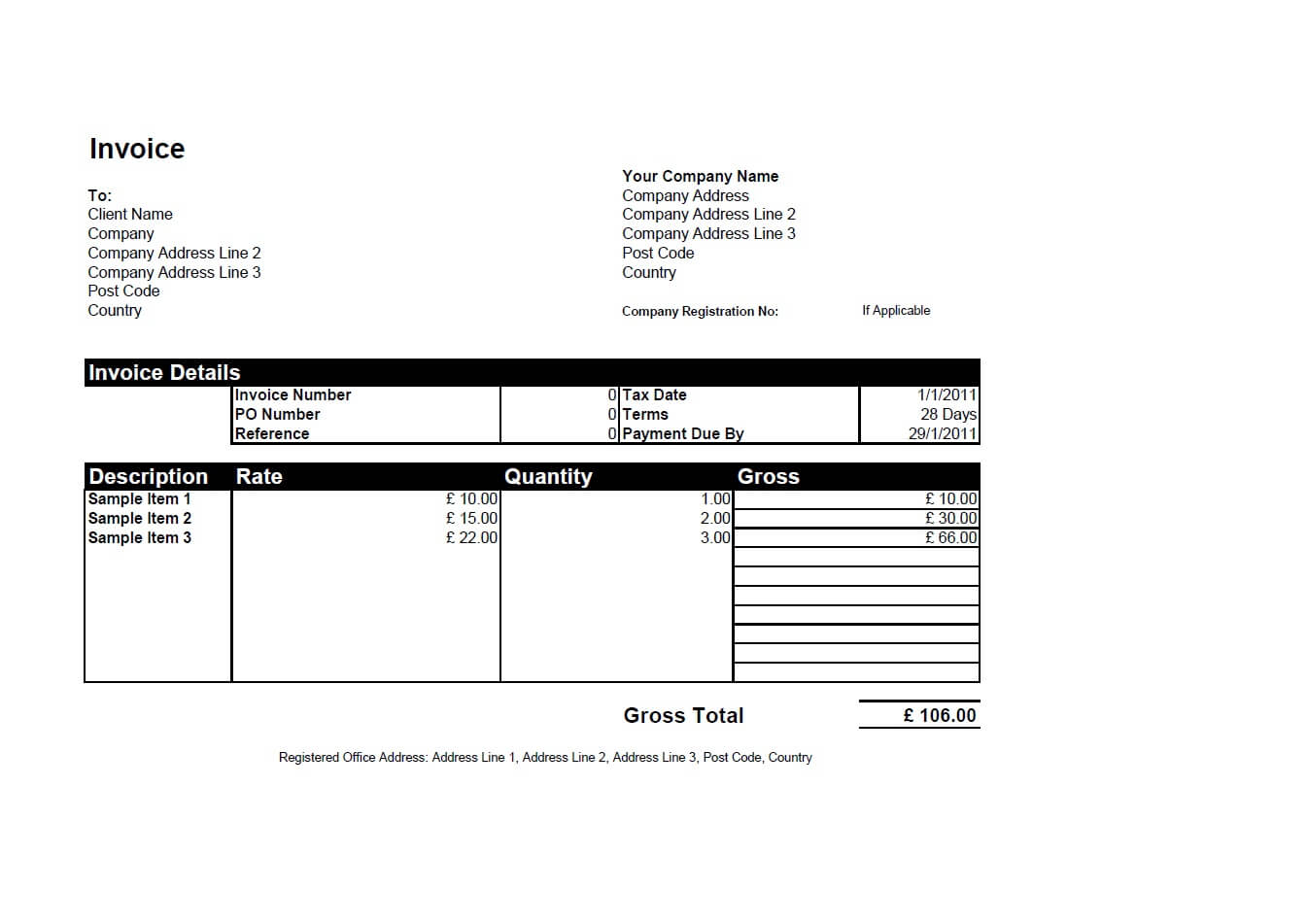 Free Invoice Template for Excel