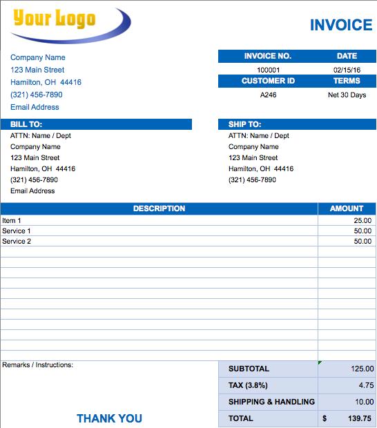 Sample Invoice Template Excel – Sample Basic Invoice