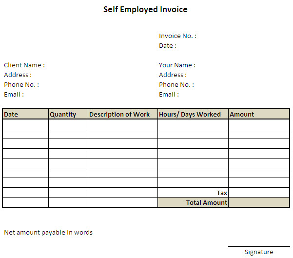 Self Employed Invoice Template Excel ⋆ Invoice Template