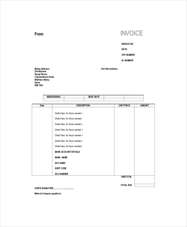 Self Employed Invoice Template 8+ Free Word, Excel, PDF