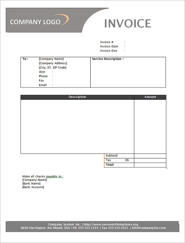 Service Invoice Template Word Download Free  Invoice Example
