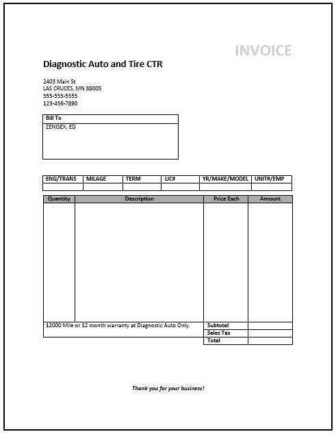 Service Invoice Template Word Download Free Invoice Example - Invoice template word download