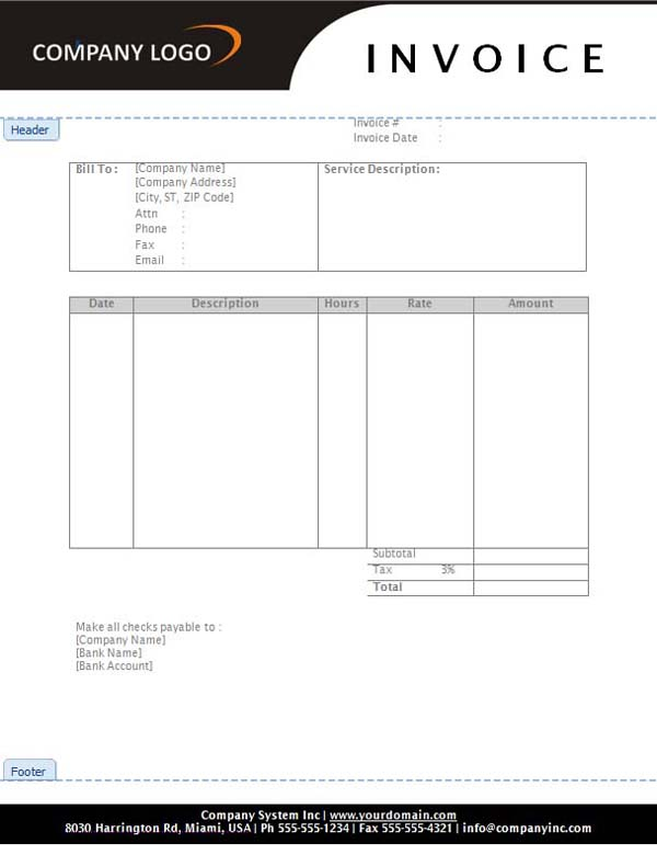 Service Invoice Template Word Download Free – Invoice Template Word Download